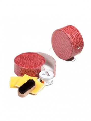 Kit de viaje rosa para el cuidado del calzado Tarrago