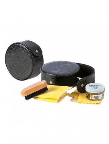 Black Shoe Care Travel Kit
